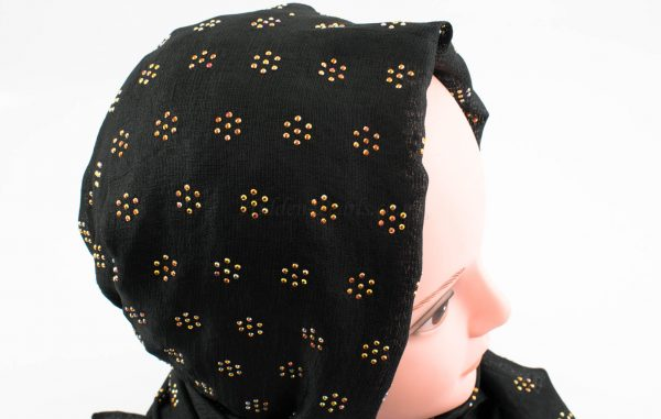 Deluxe Scattered Bliss Wedding Hijab - Black 2 - Hidden Pearls