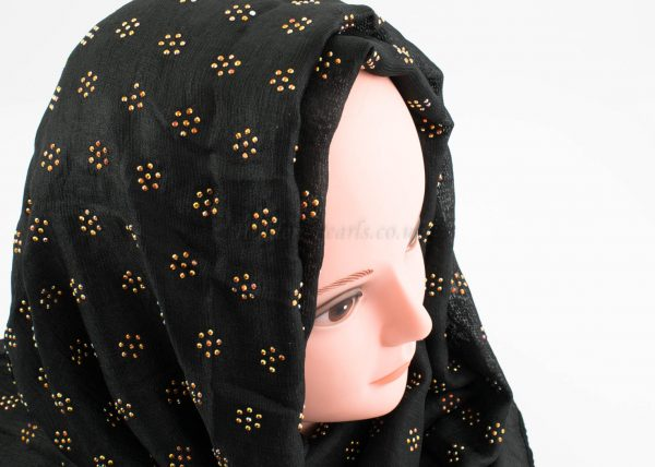 Deluxe Scattered Bliss Wedding Hijab - Black - Hidden Pearls