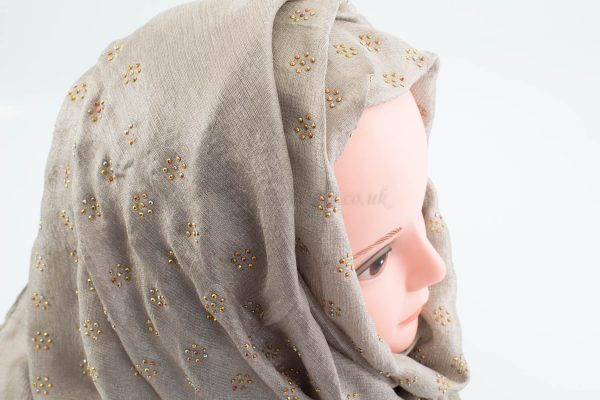 Deluxe Scattered Bliss Wedding Hijab - Champagne - Hidden Pearls