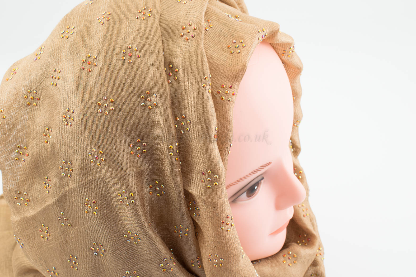 Deluxe Scattered Bliss Wedding Hijab - Deep Gold - Hidden Pearls