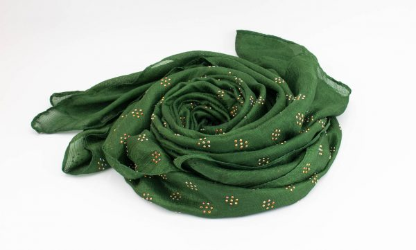 Deluxe Scattered Bliss Wedding Hijab - Emerald 2 - Hidden Pearls
