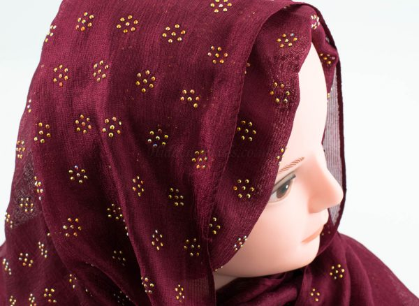 Deluxe Scattered Bliss Wedding Hijab - Garnet 3- Hidden Pearls