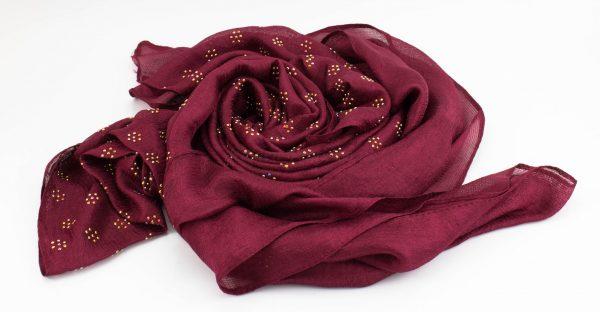 Deluxe Scattered Bliss Wedding Hijab - Garnet - Hidden Pearls