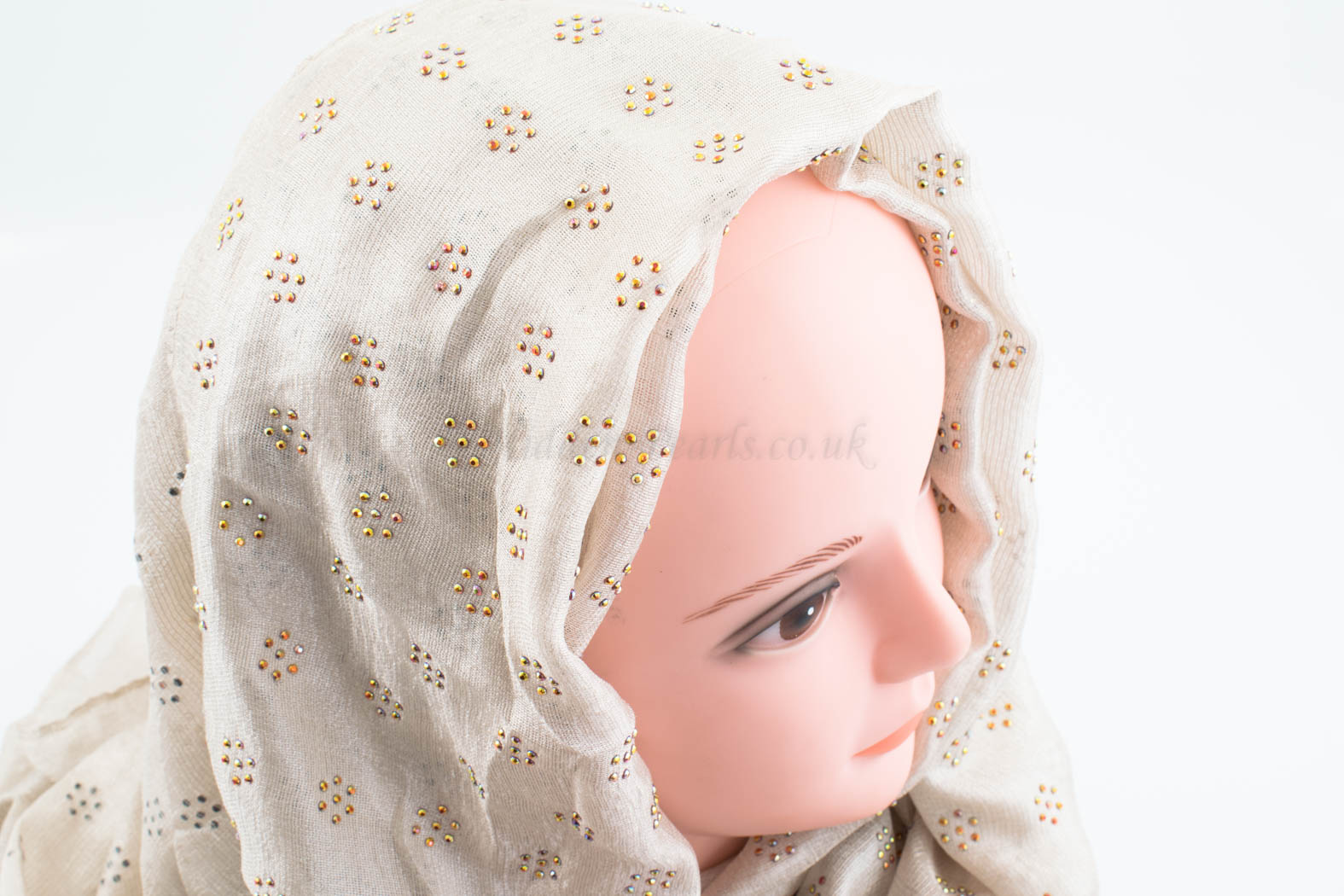 Deluxe Scattered Bliss Wedding Hijab - Ivory - Hidden Pearls