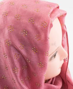 Deluxe Scattered Bliss Wedding Hijab - Rose - Hidden Pearls