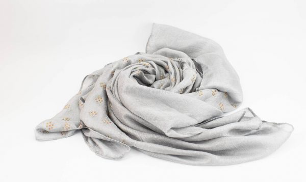 Deluxe Scattered Bliss Wedding Hijab - Silver 2 - Hidden Pearls