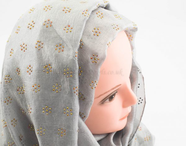 Deluxe Scattered Bliss Wedding Hijab - Silver - Hidden Pearls