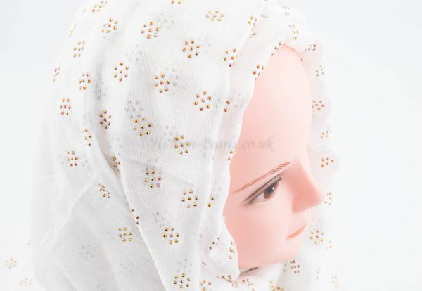 Deluxe Scattered Bliss Wedding Hijab - White - Hidden Pearls