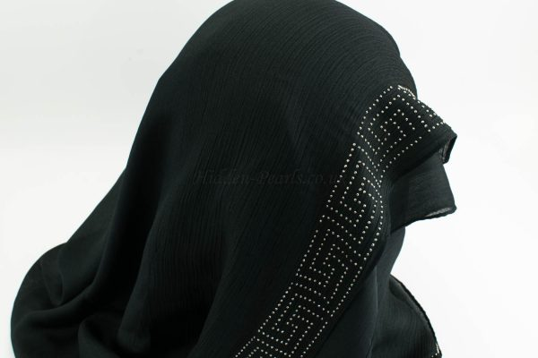 Deluxe Silk Gem Border Hijab - Black Border - Hidden Pearls