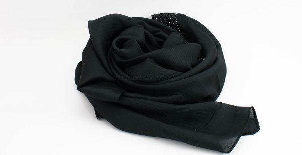 Deluxe Silk Gem Border Hijab - Black - Hidden Pearls