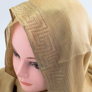 Deluxe Silk Gem Border Hijab - Deep Gold 2 - Hidden Pearls