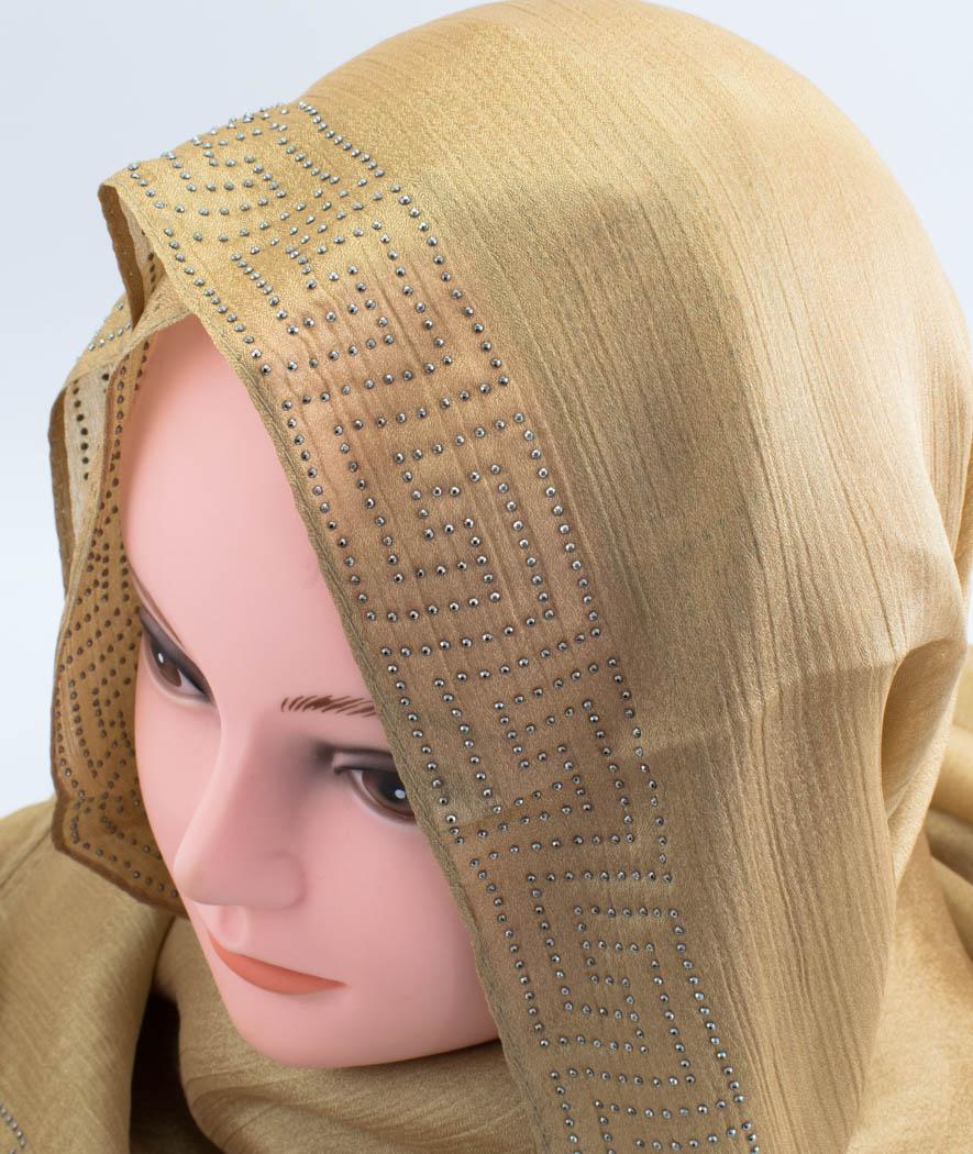 Deluxe Silk Gem Border Hijab - Deep Gold 2 - Hidden Pearls