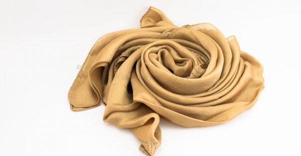 Deluxe Silk Gem Border Hijab - Deep Gold - Hidden Pearls