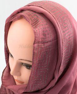 Deluxe Silk Gem Border Hijab - Dusky Pink 2 - Hidden Pearls