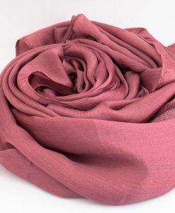 Deluxe Silk Gem Border Hijab - Dusky Pink - Hidden Pearls