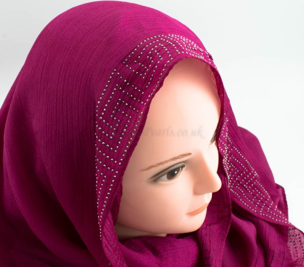 Deluxe Silk Gem Border Hijab - Fuschia 2 - Hidden Pearls
