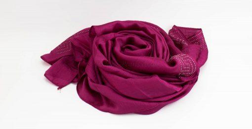 Deluxe Silk Gem Border Hijab - Fuschia - Hidden Pearls