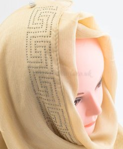 Deluxe Silk Gem Border Hijab - Gold 2 - Hidden Pearls