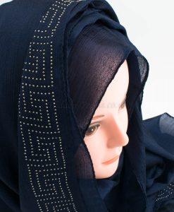 Deluxe Silk Gem Border Hijab - Midnight Blue 2 - Hidden Pearls