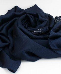 Deluxe Silk Gem Border Hijab - Midnight Blue - Hidden Pearls
