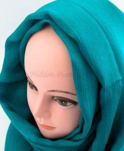 Deluxe Silk Gem Border Hijab - Teal 2 - Hidden Pearls