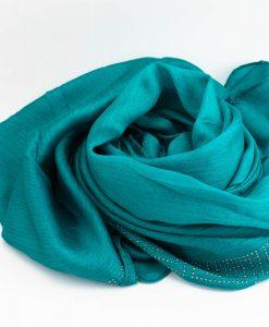 Deluxe Silk Gem Border Hijab - Teal - Hidden Pearls