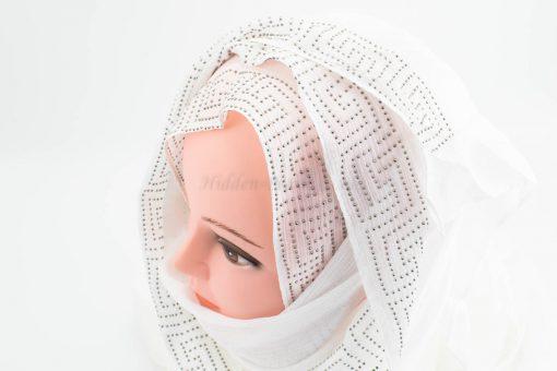 Deluxe Silk Gem Border Hijab - White - Hidden Pearls
