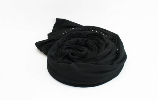 Diamante Jersey Hijab - Black 2 - Hidden Pearls