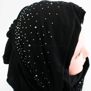 Diamante Jersey Hijab - Black - Hidden Pearls
