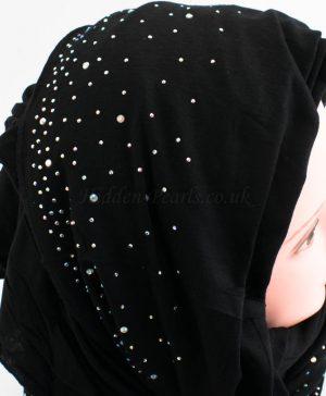 Diamante Jersey Hijab - Black - Hidden Pearls