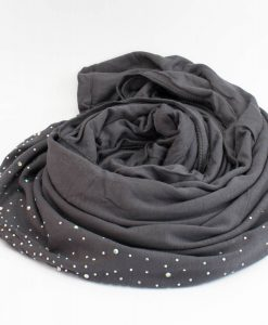 Diamante Jersey Hijab - Charcoal 2- Hidden Pearls