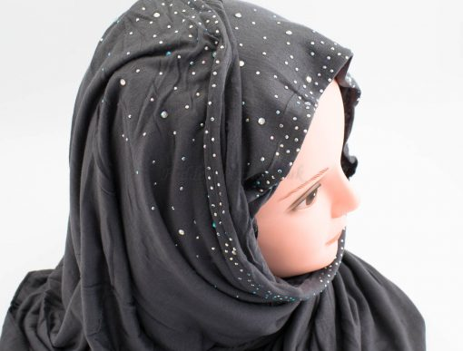 Diamante Jersey Hijab - Charcoal 3 - Hidden Pearls