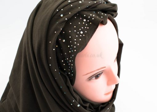 Diamante Jersey Hijab - Dark Chocolate - Hidden Pearls