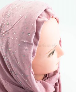 Diamante Jersey Hijab - Dusky Pink 2 - Hidden Pearls