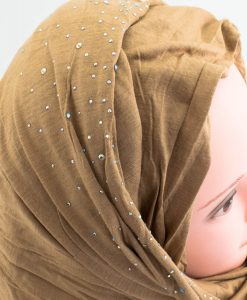 Diamante Jersey Hijab - Coffee - Hidden Pearls