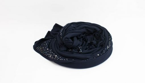Diamante Jersey Hijab - Midnight Blue 2 - Hidden Pearls