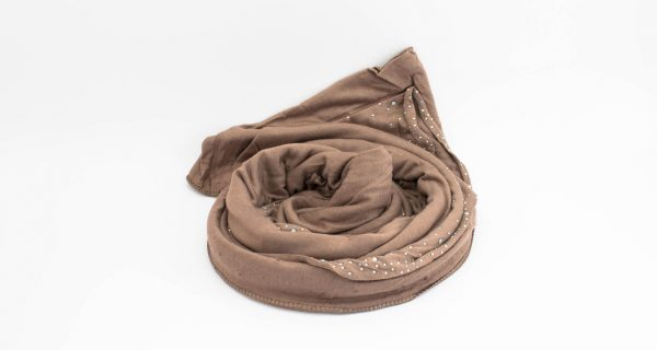 Diamante Jersey Hijab - Mocha - Hidden Pearls