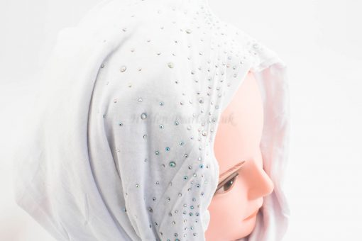Diamante Jersey Hijab - White - Hidden Pearls