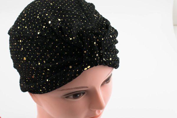 Glitter Turban - Black - Hidden Pearls