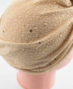 Glitter Turban - Champagne Back - Hidden Pearls