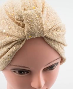 Glitter Turban - Champagne- Hidden Pearls