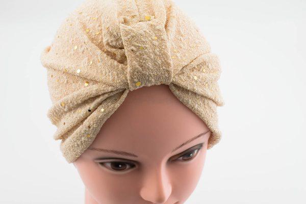 Glitter Turban - Champagne- Hidden Pearls