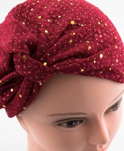 Glitter Turban - Deep Red - Hidden Pearls