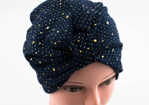 Glitter Turban - Midnight Blue 2 - Hidden Pearls