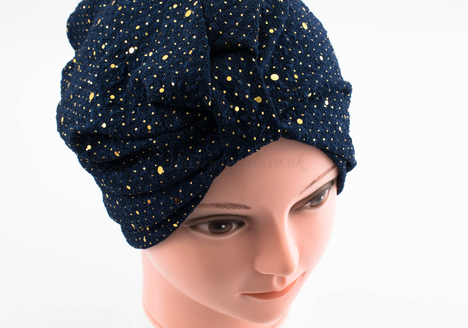 Glitter Turban - Midnight Blue - Hidden Pearls