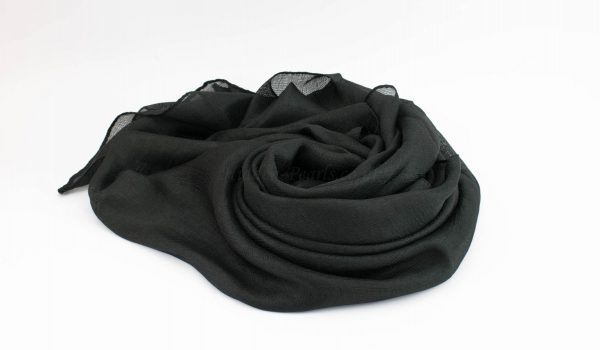 Shimmer Silk Hijab - Black 2- Hidden Pearls