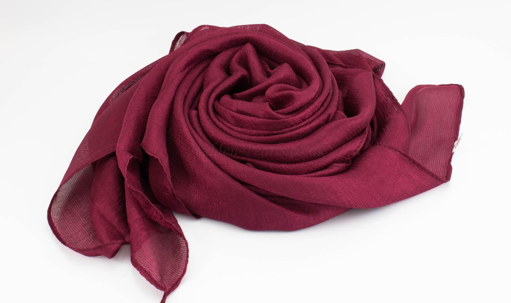 Shimmer Silk Hijab - Garnet 3 - Hidden Pearls.NEF
