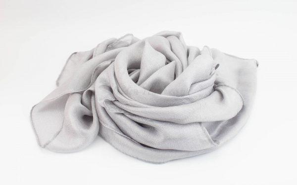 Shimmer Silk Hijab - Silver 2 - Hidden Pearls