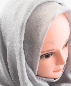 Shimmer Silk Hijab - Silver - Hidden Pearls