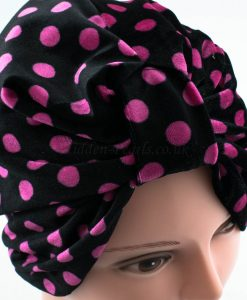 Velvet Polka Dot Turban - Black - Hidden Pearls
